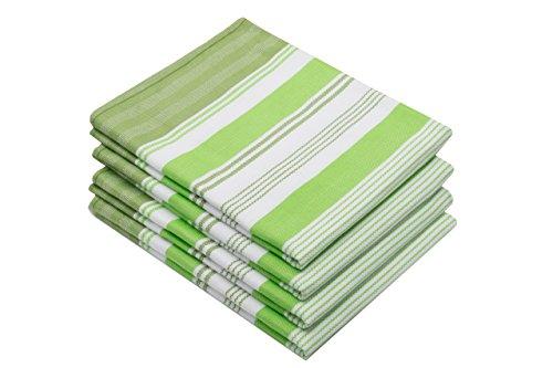 ZOLLNER 4 paños de Cocina de algodón, 50x70 cm, a Rayas Verdes