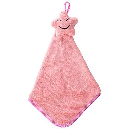 5 Pack Leuke Star Handdoek Keuken Handdoeken Microvezel Koraal Fleece Handdoek met Handige Opknoping Loop Wasbaar Ultra Absorbens Snel Drogen roze