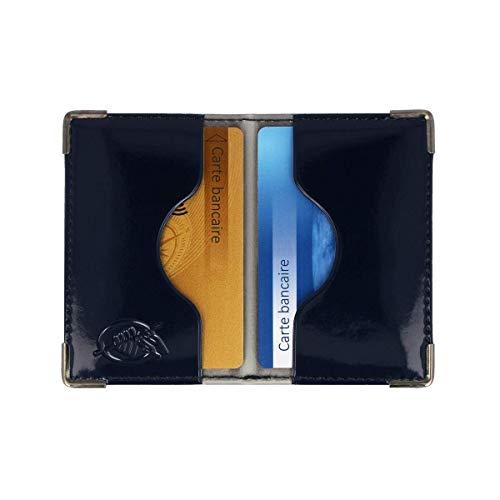 Etui 2 cartes bancaires blindé (anti-RFID) (Bleu Marine)