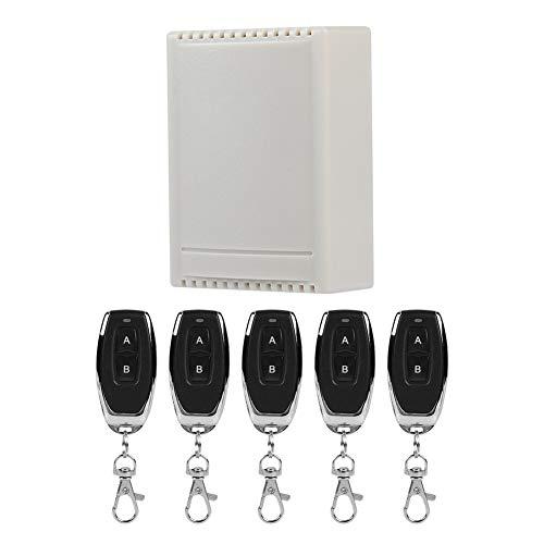 Tangxi Interruptor de Control Remoto Inteligente de 2 vías 85-220V Receptor de Interruptor de código de Aprendizaje inalámbrico de 1 a 5 para Todos los Campos, Control Remoto inalámbrico