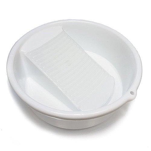 Liten vit tvättskål/handfat med integrerad tvättbräda _ 25 cm diameter