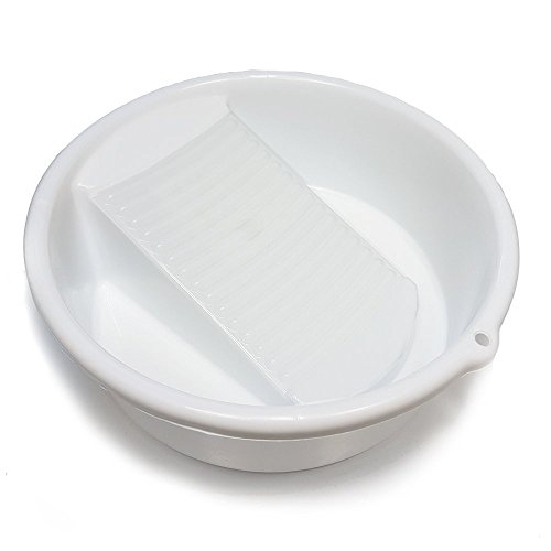 Amazing Child Small White Washing Bowl / Basin with Integrated Washboard _ 10' Diameter