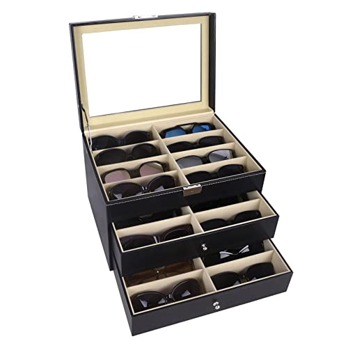 AUTOARK Organizador de 24 piezas para gafas de sol y Cajón con cerradura,Cuero sintético,Tapa de Vidrio,Negro,AW-095