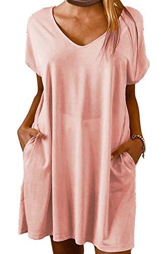 Yidarton Vestido de verano de lino para mujer, cuello en V, vestido de playa, monocolor, línea A, vestido bohemio, largo hasta la rodilla, sin accesorios Zyz/Rosa XL