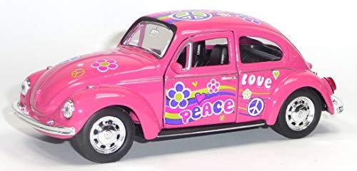 Generisch VW Käfer (1960) Modellauto pink Love & Peace ca. 12cm im Hippie-Look der 70er Jahre