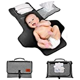 Portable Baby Nappy Changing Mat, Travel Diaper Change Pad with Head Cushion, Wipes, Nappy Pockets-Waterproof & Foldable for Anywhere Use(Grey)