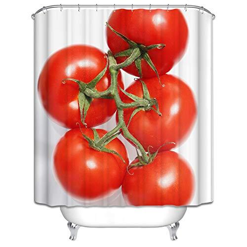 DOLOVE Polyester Duschvorhang Antibakteriell Anti Schimmel Tomate Duschvorhänge 120x180 Waschbar Duschvorhang Antischimmel Bunt