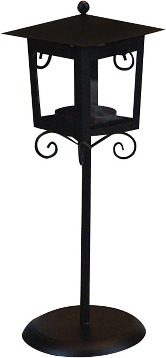 TYUTYU Candlestick Retro Street Lights Classic Hierro Villa Soporte de Vela Linterna Hierro Villa Vela Soporte Familia Vela de Boda (Color : Black)