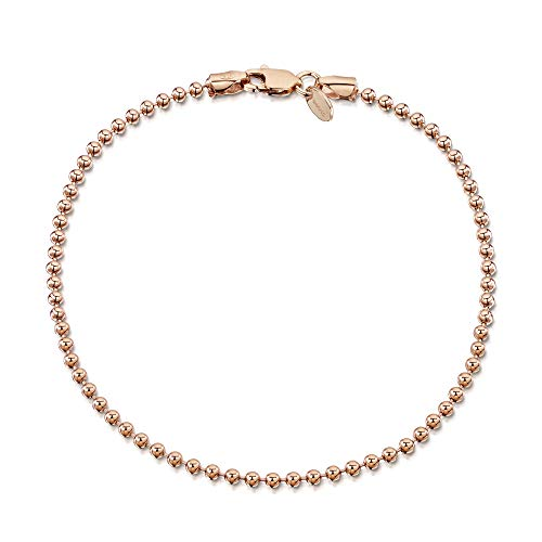 Amberta Gioielli - Bracciale - Catenina Argento Sterling 925 - Placcato Oro Rosa da 14k - Modello Sfere - Larghezza 2 mm - Lunghezza: 18 cm