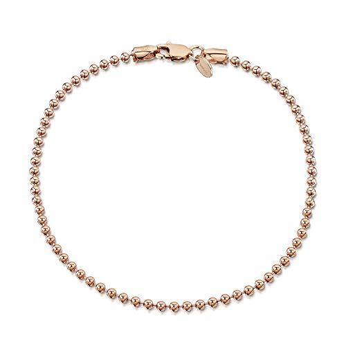 Amberta® Bijoux - Bracelet - Chaîne Argent 925/1000 - Plaqué Or Rosé 14K - Maille Boule - Largeur 2 mm - Longueur 18 19 cm (18cm)