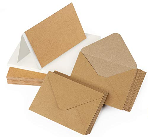 Mocraft 60Sets Doppelkarten mit Briefumschläge & Weiß Einlege-Blätter Kraftpapier Karten für Grüße Einladung, Natur-Braun, DIN A6