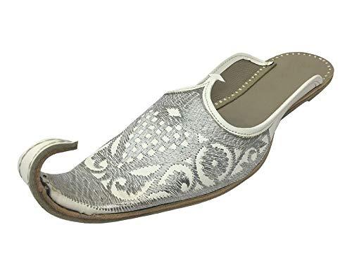 Step n Style Marokkanische traditionelle handgefertigte Leder-Khussa-Babouches-Hausschuhe für Herren, Mehrere (weiß/silberfarben), 44 EU