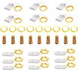 24 Pack Fairy Lights Battery Operated Led Fairy Lights Waterproof Twinkle Lights for DIY Room Decor Wedding Decorations Sliver Wire Wine Bottle Lights for Party Mason Jars Table Centerpieces Crafts