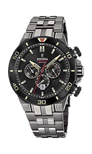 Festina Unisex Erwachsene Chronograph Quarz Uhr mit Edelstahl Armband F20453/1