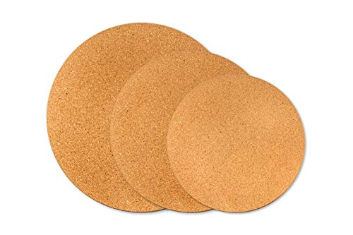 Cork Trivets for Hot Dishes - 6 9 12 Inch Diameter 06 Inch Extra Thick Set of 3 -  Plant Coasters Hot Pads for Kitchen Pots Pans Kettle Round Placemats
