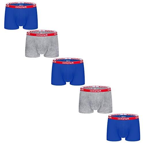FNKDOR 5er Pack Kurz Boxershorts Herren Baumwolle Low Rise Eng Elastisch Einfarbig Unterhosen Blau M