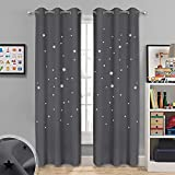 NICETOWN Starry Curtains Blackout Panels - Soft & Thick Room Darkening Curtains with Hollow Out Twinkle Stars for Boys/Nursery/Kids Room Window Drapes (2 Panels, 42W x 84L inches, Gray)
