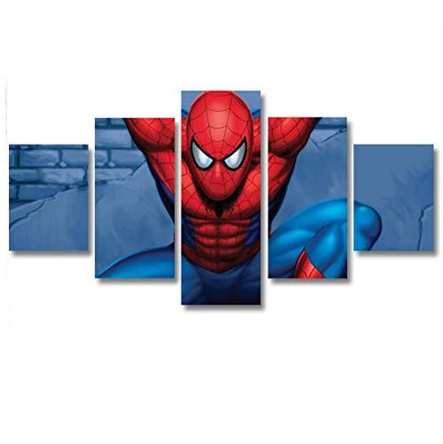 KOPASD Cuadro en Lienzo Spider superhano 150x80cm Impresión de 5 Piezas Material Tejido no Tejido Impresión Artística Imagen Gráfica Decoracion