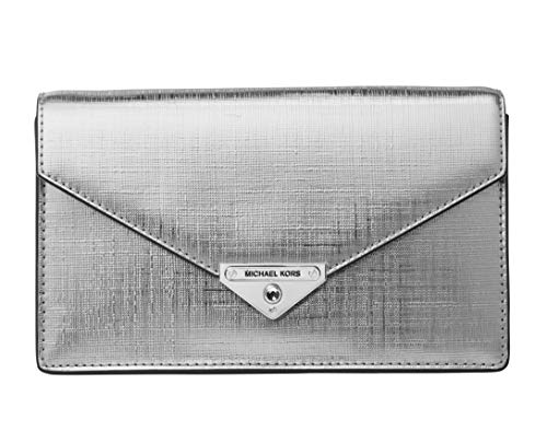 Leather Snap closure, Removable shoulder chain Interior: 1 back slip pocket, 3 front credit card pockets, 1 front slip pocket Exterior: 1 back slip pocket, Silver-tone hardware 8.75 in W x 5.25 in H x 2 in D