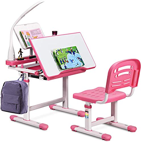 LYYNTTK Kids Study Desk and Chair Set Height Adjustable Children School Girl Table Large Writing Board Desk with LED Lamp Pull Out Drawer Pencil Case Bookstand Pink