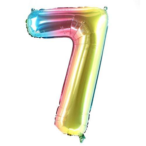Party Factory XXL Folienballon Zahl 7, Luftballon 100cm, multicolour, Geburtstag, Abi, Jubiläum, Party Ballon, Heliumballon, Deko