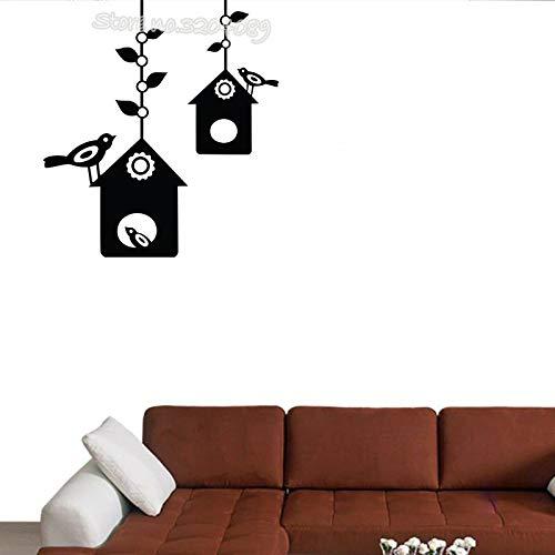 zqyjhkou Casa de pájaros Tatuajes de Pared Hermosa Jaula de pájaros Vinilos Paradisíacos Dormitorio Pegatinas de Pared Decoración para el hogar Ventana Extraíble Wallpaper Ea446 42x46 cm