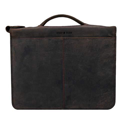 Greenburry Dokumentenmappe Leder - Braun Vintage Revival - Hochwertiges Rindsleder - Schreibmappe Leder - Konferenzmappe Leder - Ringbuch Leder