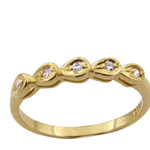 Anillo de oro con 5 brillantes – trabajo de orfebrería de Alemania (oro amarillo 585) – Anillo de diamante para mujer