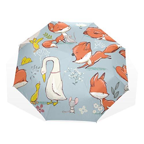 XiangHeFu Umbrella Farm Cute Fox and Birds Mouse 3 Folds Lightweight Anti-UV