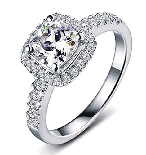 BQZB Anillo Anillo de Compromiso de Diamantes sintéticos Cortados Plata de Ley 925 Promesa Regalo de Boda Nupcial