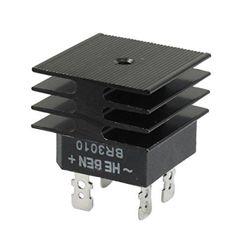 Negro BR3010 30A 1 KV monofásico puente rectificador de media onda W Disipador