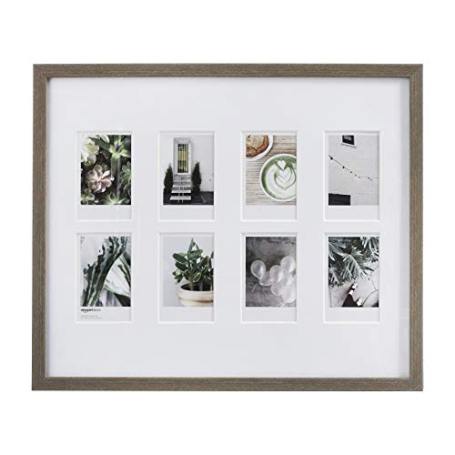 "AmazonBasics Photo Frame for use with Instax - 8-Opening - 3.25""x2"", Barnwood"