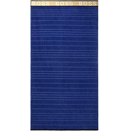 BOSS - Toalla de baño, diseño de rayas, color azul marino