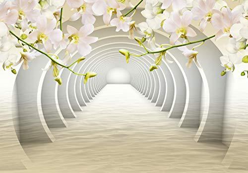 wandmotiv24 Fototapete Tunnel Blumen, XS 150 x 105cm - 3 Teile, Fototapeten, Wandbild, Motivtapeten, Vlies-Tapeten, Wasser, 3D M3934