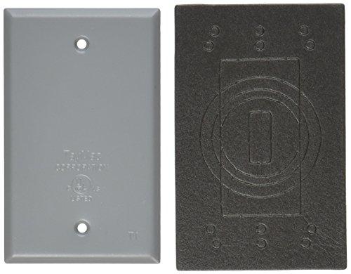 TayMac BC100S Weatherproof Metallic Device Cover, Blank, Single Gang, Gray