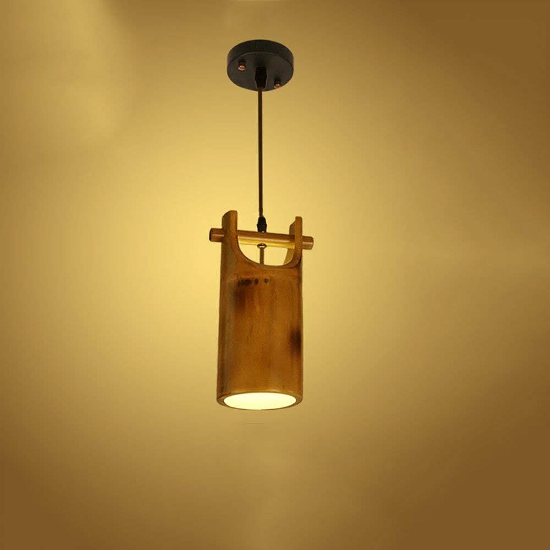 Xiao Fan   Vintage Single Head Bambus Deckenpendelleuchte Landhausstil Antikes Restaurant Bambus Deckenleuchte für Schlafzimmer Wohnzimmer Dessert Shop Bar Cafe Kronleuchter Pendelleuchte E27