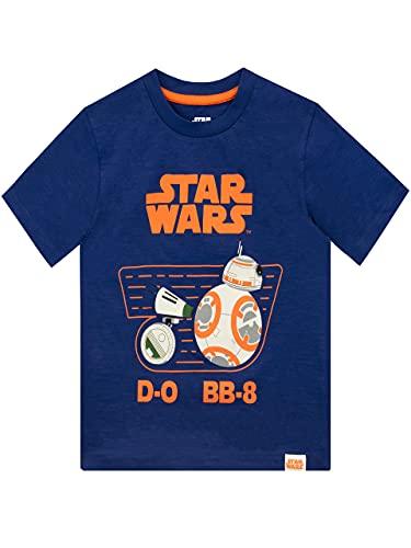 Star Wars Camiseta de Manga Corta para Niños D-O y BB8 La Guerra de Las Galaxias Azul 8-9 Años