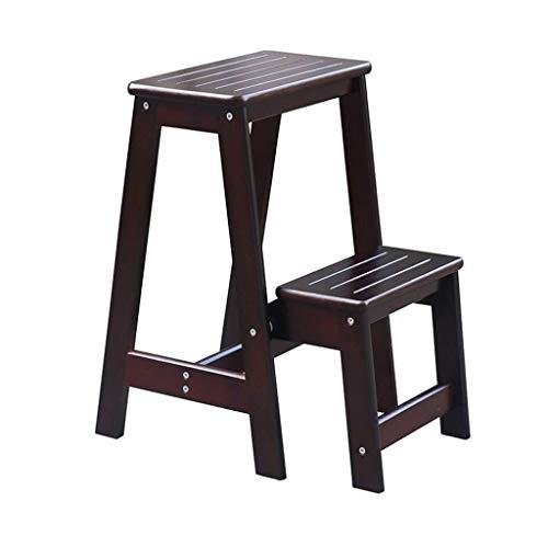 Alvnd houten trapladder inklapbaar 2 niveaus draagbare ladder stoel zitting plank veelzijdig binnen multifunctioneel design huishouden bed treden voor stapelbedden (zwart notenhout kleur/geel notenhout kleur/wit)