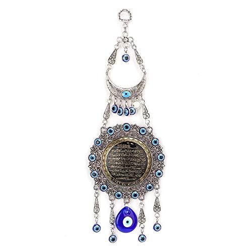 Hztyyier Türkisches Blue Evil Auge Bördelt Verzierung Glückliches Amulett Zarte Blaue Glasanhänger für Schutz und Wandbehang Dekor