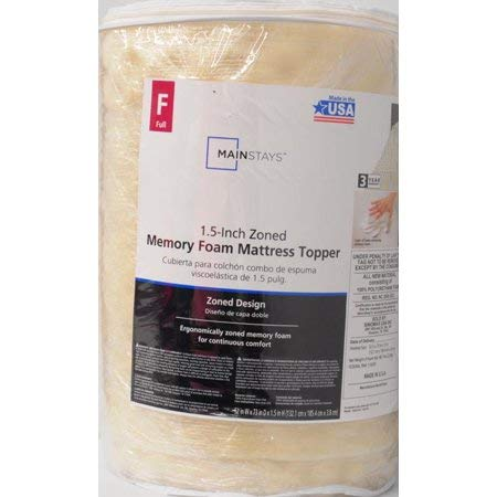 "Mainstay 1.5"" Zoned Memory Foam Topper/Full"