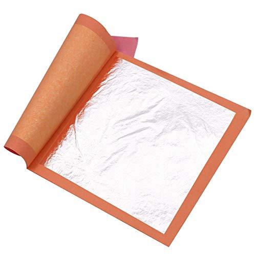 VGSEBA Pan de Plata Comestible Auténtico 25 hojas 9.5cm Lámina Dorada para Decoración de Pastel Dibujos Artesanías Manualidad Uñas Muebles