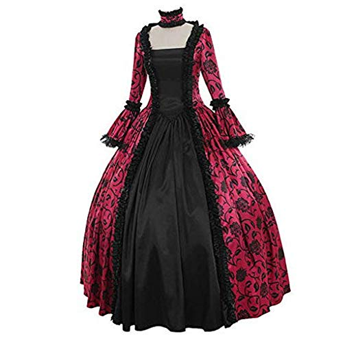 Aniywn Plus Size Halloween Floral Print Costume Renaissance Medieval Gown Cosplay Long Prom Dress Hot Pink