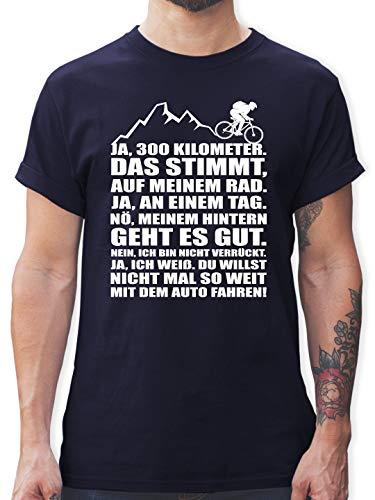 Radsport - 300 Kilometer mit dem Rad - M - Navy Blau - L190 - Tshirt Herren und Männer T-Shirts