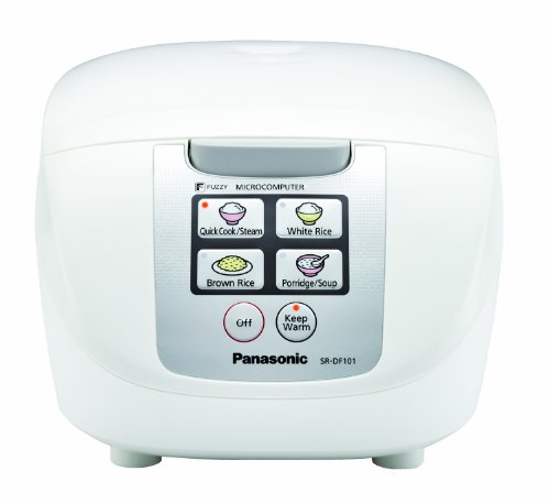 Panasonic 10 Cup (Uncooked) Rice Cooker with Fuzzy Logic and One-Touch Cooking for Brown Rice, White Rice, and Porridge or Soup – 1.8 Liter – SR-DF181 (White)