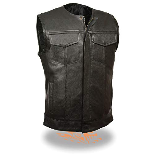 Milwaukee Leather LKM3711 Men's Collarless Dual Snap and Zipper Front Closure Club Leather Vest - X-Large