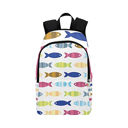 WSNWCY Men School Bag Fish Pattern Colorful Summer Supply Durable Water Resistant Classic Casual Shopping Bag Daypack for Boys Best Backpack Day Hike Backpack