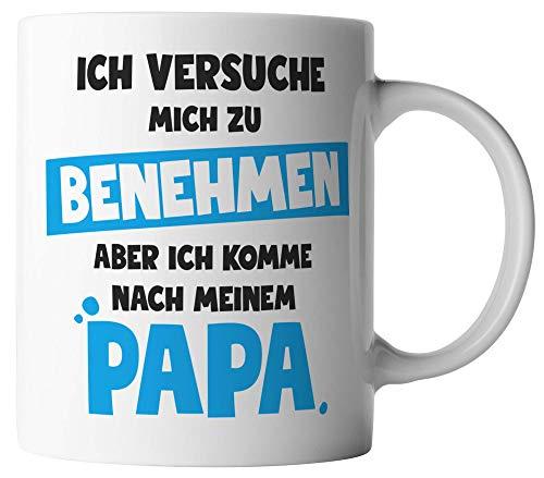 vanVerden Tasse - Versuche mich zu benehmen, aber komme nach meinem Papa - Tassen für Vatertag Spruch Vater - beidseitig Bedruckt - Geschenk Idee Kaffeetassen, Tassenfarbe:Blau