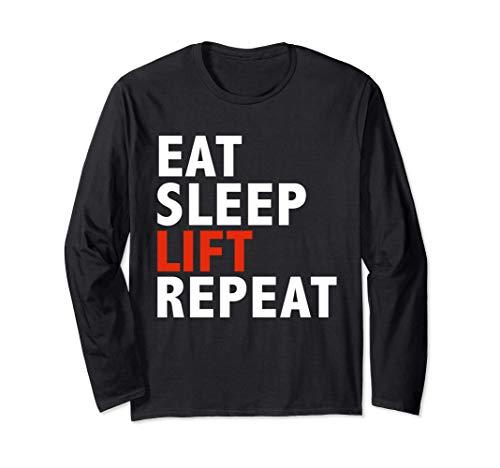 Funny Eat sleep lift and repeat Workout Body Building Gift Manga Larga
