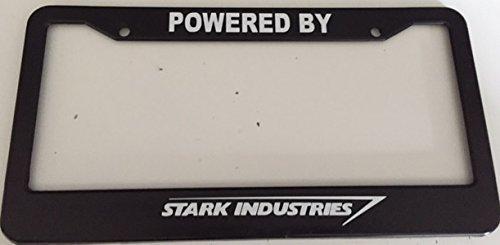 Strawbaru Powered By Stark Industries - Automotive Black License Plate Frame -