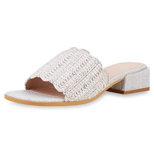 SCARPE VITA Damen Sandaletten Pantoletten Ethno Sommerschuhe Blockabsatz Mules 189981 Creme 39